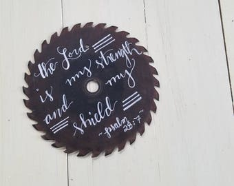 Rustic Saw Blade: Hand-Lettered and Reversible