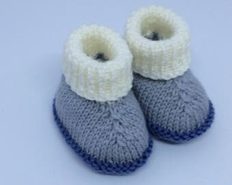 Baby booties-Baby boy booties- Knitted Baby booties-Blue and grey booties-Baby ugg boots -0-3 months baby booties-