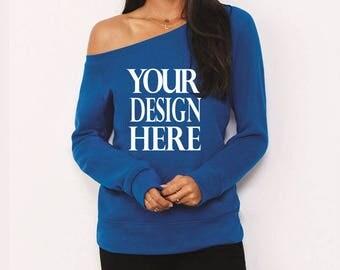 Custom Customizable Womens Wideneck Sweatshirts Wholesale Bulk Personalized Silk Screen Business Event Party