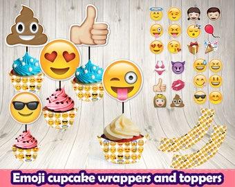 EMOJI CUPCAKE toppers and wrappers.Emoji printable.Emoji birthday.Emoji decoration.Emoticons decoration. Emoji buffet.Emoji themed party