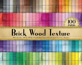 100 Seamless Brick Wood Texture Papers in 12 inch, 300 Dpi Planner Paper, Commercial Use, Scrapbook Paper,Rainbow Paper, 100 Wood Papers