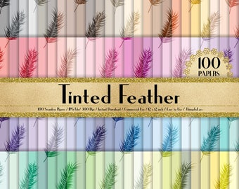 """100 Seamless Tinted Feather Papers in 12"""" x 12"""", 300 Dpi Planner Paper, Scrapbook Paper,Rainbow Paper, Feather Papers, Vintage Digital Paper"""