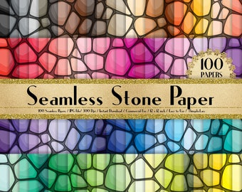 """100 Seamless Stone Papers in 12"""" x 12"""",300 Dpi Planner Paper,Commercial Use,Scrapbook Papers,Rainbow Paper,100 Texture Paper"""