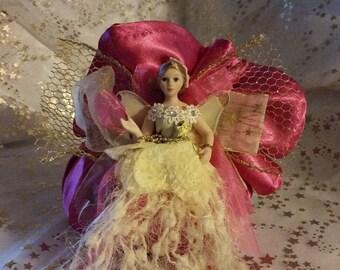 "Handmade decorative creation ""Pink fairy"" pouch"