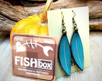 Distressed leather leaf earrings