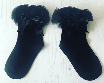 Tutu socks, black tutu socks, bow socks, baby socks, ruffle socks, baby ribbon socks, girls socks