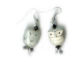 Porcelain Owl Earrings with Swarovski Crystals and silver plated copper