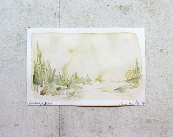 natural landscape watercolor, original watercolor, mountain landscape, 4x6, landscape no. 104