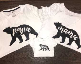 Set of Family Bear Shirts (Mama Bear, Papa Bear, Baby Bear)