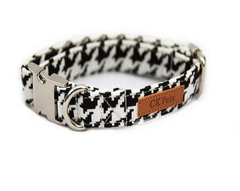 Houndstooth Dog Collar & Bow