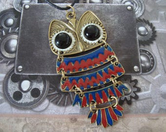 Red and blue articulated OWL pendant necklace