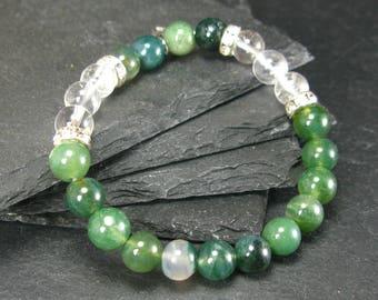 Moss Agate & Quartz Genuine Bracelet ~ 7 Inches  ~ 8mm Round Beads