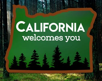 California Welcomes You Oregon State Vinyl Sticker/Decal