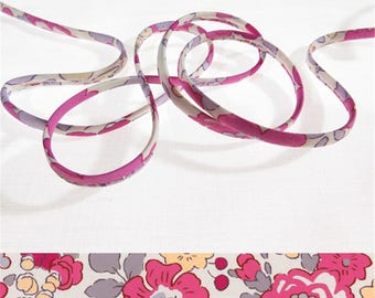 Cord Liberty Betsy - Bougainvillea x 50 cm, Liberty Tana Lawn for bracelet, jewelry, sewing...