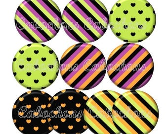 Set of 10 20mm glass hearts, stripes, ref Lot125 cabochons