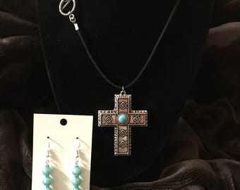 Turquoise Cross & Earrings Set