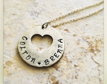 Hand-stamped Love Heart Cut-Out Personalized Necklace| Sterling Silver Plated Hammered|Anniversary Mommy Grandma Pendent Reversible Necklace
