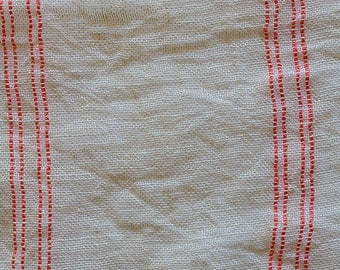 linen fabric 100% unbleached, woven Pinstripe red coral. 310 cm width. Coupon of 50 cm.
