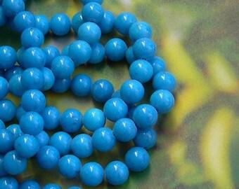10 BLUE JADE MASHAN 8 MM BEADS