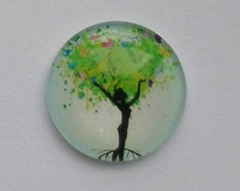 2 ROUND 20 MM GLASS CABOCHON HAS TREE WOMAN REF PATTERN 9