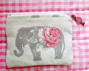 Multi-purpose purse, wallet, coin pouch - Elegant Elephant print