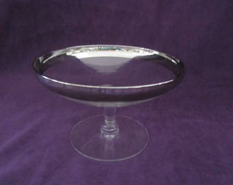 Dorothy Thorpe Silver Band Pedestal Candy Dish Mid Century