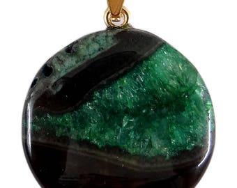 Round pendant with agate 30 mm pièce unique ppna233 bail