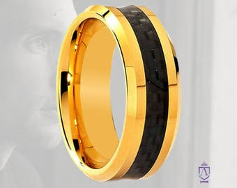 Tungsten & 14k Gold Black Carbon Fiber Band | | 8MM Tungsten Wedding Band in 14k Yellow Gold and Black Carbon Fiber Center| Couples Ring