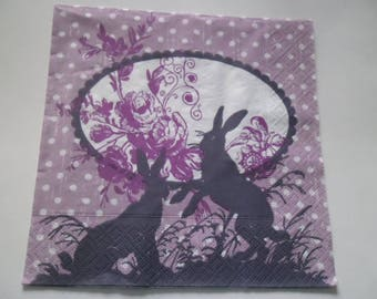 x 1 paper towel purple background white polka dots, flowers and two rabbits 33 x 33 cm