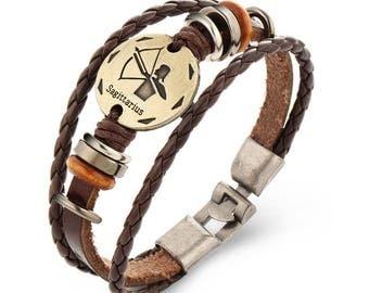 Unisex brown leather strap 1 x 21 cm SAGITTARIUS zodiac sign