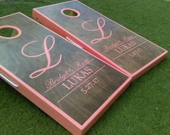 Custom Classic Initial Monogram Wedding Cornhole Boards, Initial Wedding Cornhole Boards, Cornhole Boards, Guest Entertainment, Wedding Game