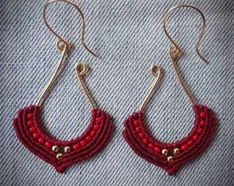 macrame earrings, silver 24K gold plated beads, 24K gold plated wire, handcrafted earrings, burgundy red