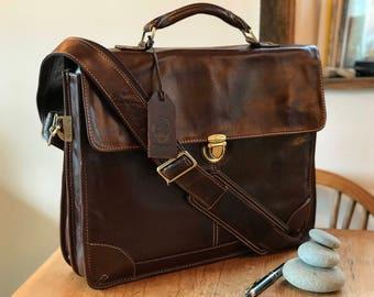 Leather Laptop Bag, Leather Messenger Bag, Laptop Bag, Messenger Bag