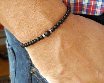 Men's Beaded Bracelet - 4mm MATTE BLACK ONYX bracelet, Gemstone beaded bracelet, Chakra healing bracelet