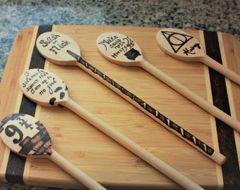 HP Wooden Spoon SET Magical wands Geek gift Housewarming Fandom inspired mischief managed make soup always swish and flick