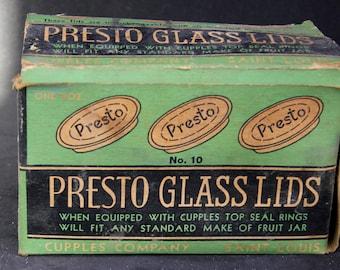 Set of 12 Presto Glass Lids for Mason Jars, and original box plus three presto metal screw band