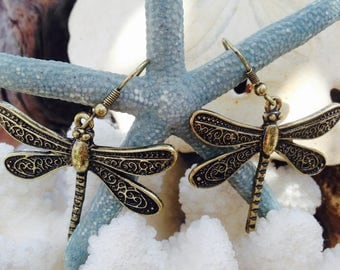 Dragonfly Earrings - Insect Jewelry - Nature Lover Jewelry - Christmas Present for Woman