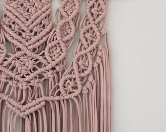 Extra Large layered macrame wall hanging in blush pink