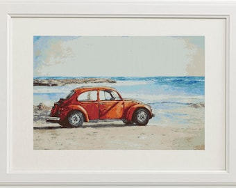 "Digital cross stitch pattern ""Walk along the sea""   Printable download Embroidery pattern"