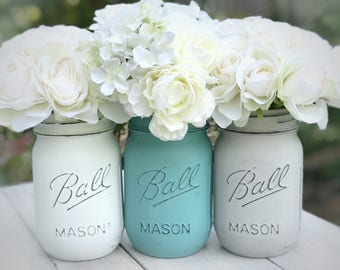 Distressed painted mason jars. White, sea foam,  gray.  Desk, kitchen, baby, bathroom decor. Teen room, shower gift, house warming, flowers.
