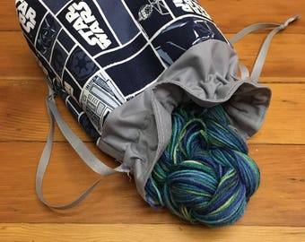 Star Wars knitting project bag, lined drawstring bag