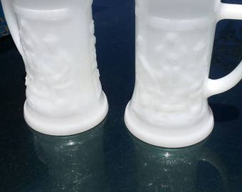 Pair Federal milk glass mugs vintage