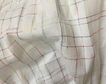 Check pattern cotton fabric by half yard white color cotton fabric pre washed softened fabric clothing fabric scarf fabric home decor