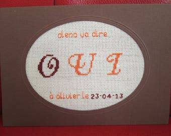 "Share embroidered wedding ""Chocolat"" (customizable)"