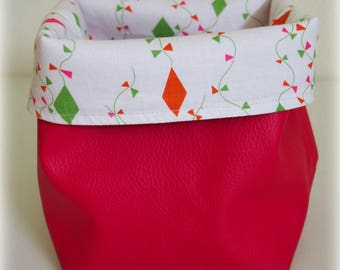 Tidy leatherette raspberry and cotton print