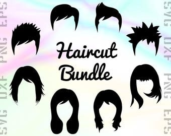 Haircut SVG Files - Haircut Dxf Files -Haircut Clipart - Men Haircut Cricut Files - Woman Haircut Cut Files - Svg, Dxf, Png, Eps Vectors