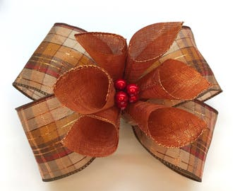 Autumn Floral Bow in Orange Plaid for Wreaths and Arrangements