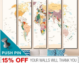 World Map Push Pin, Word Map Canvas, World Map, Push Pin World Map, World Map Wall Art, World Map Print,  PushPin World Map, Map Canvas