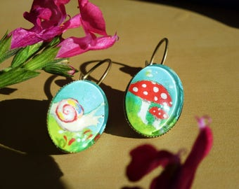 real painting mushrooms earrings genuine miniature painting, glass cabochon, mushroom and snail, bronze, forest jewelry