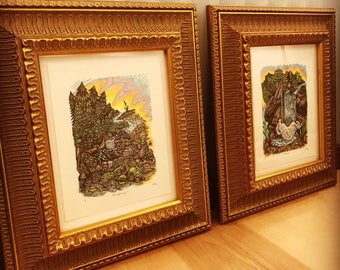 Pair of ornately framed color woodcut prints
